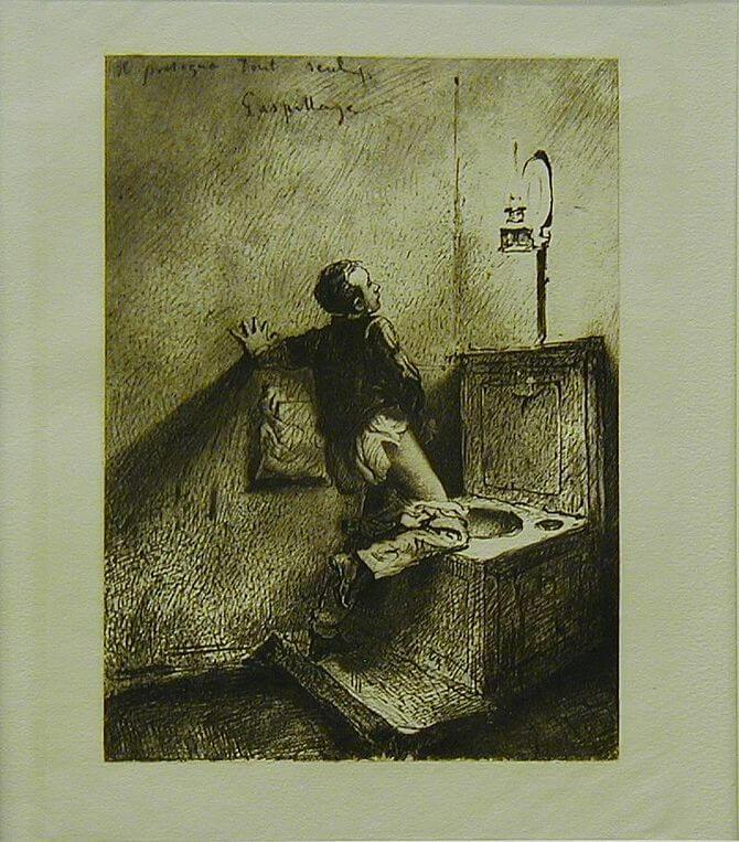 Mihály Zichy: (Masturbation) 1911, copper engr...