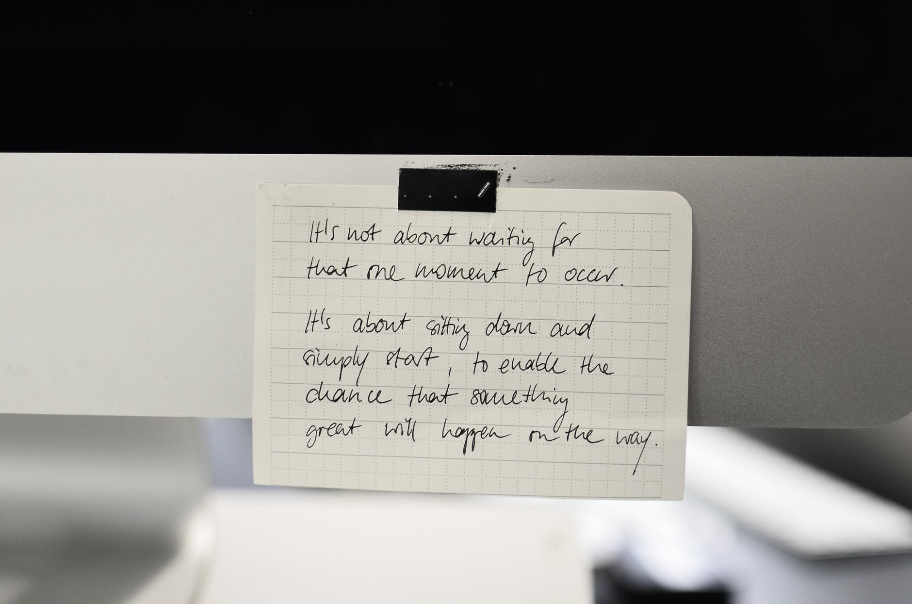 message on paper sheet on light surface